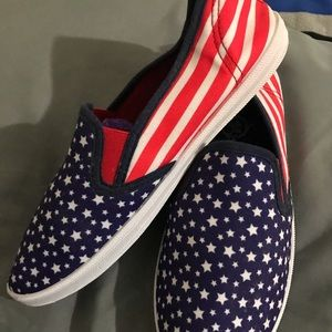 Canvas slip ons - red, white & blue
